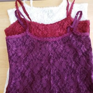 WHBM Lace Tank top Camisole LOT of 3 XS